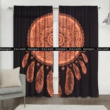 Indian Leaf Floral Mandala Window Cotton Drapes Balcony Room Valance Curtain Set
