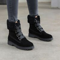 Womens Fashion Winter Lace Up Fur Trim Chunky Low Heels Punk Shoes Ankle Boots