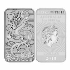 5 x 2018 Perth Mint 1oz Silver Dragon Rectangle Coin Bar.