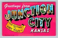 Junction City KS, LARGE LETTER Greetings, Chrome Kansas Postcard