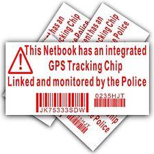 4 x pegatina de seguridad de equipo Netbook-GPS signo de seguimiento de policía-Dell, Hp, Mac, Cerradura