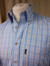 BARBOUR 100% COTONE BLU/MARRONE/BIANCA Check Camicia BUTTON DOWN-S 14.5""