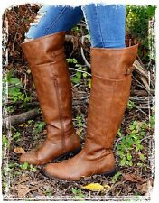 Women's Brown Rider Boots With Side Zipper (BrownB-002) Size-7