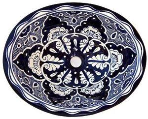 "17""x 14"" Mexican Talavera Traditional Blue Ceramic Handmade Bathroom Sink"