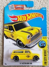 2016 HOT WHEELS YELLOW 1967 AUSTIN MINI VAN, HW CITY WORKS Long card