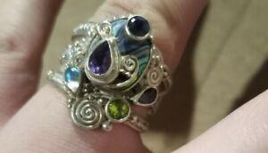 Sterling Silver Sajen Ring Size 10 (Read Full Description )