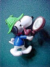 Snoopy Dog Figurine with Pipe & Magnifying Glass  RARE