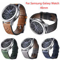 22mm Vintage Leather Band for Samsung Galaxy Watch 46mm Bracelet Strap with Pins
