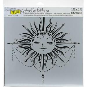 12x12 Celestial Sun Design Crafters Workshop Mixed Media Art Layering Stencil
