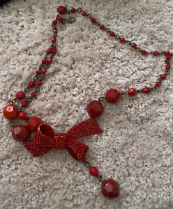 Mimco Red Bow Tie Beaded Vintage Necklace/choker