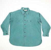 Vtg LL Bean Chamois Work Shirt USA Made Faded Teal Green Men's size 18