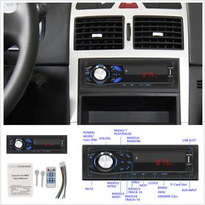 1DIN Car MP3 Multimedia Music Player Stereo FM Radio Bluetooth Handsfree AUX In