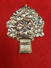 """Reed & Barton Sterling Silver Clover Basket """"GOOD LUCK"""" Whistle Pendent Ornament"""