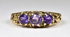 Vintage 9ct Gold Victorian Style 3 Stone Amethyst Ring, (Birmingham, 1994)
