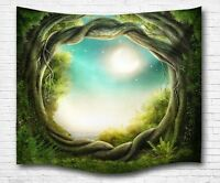 Enchanted Fairy Old Tree Opening Hole Full Moon Print Polyester Cloth Tapestry