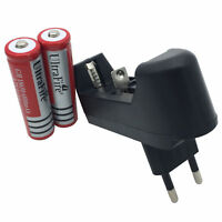 2pcs 18650 Battery 6800mAh 3.7V Li-ion Rechargeable + 4.2V Charger EU Plug New