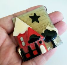 """Vintage Lucinda Brooch House Pins by Lucinda Black Red White Colors 2-1/8"""""""