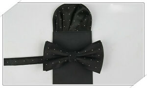 Men Fashion Silver Polka Dots Bow Tie Bowtie Pre-folded Pocket Square Hanky Set