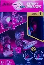 Street Roller Skates Pink Neon Pop n Lock Age 6+ Kids Shoe Clip-Ons Sports