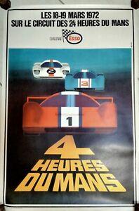 Affiche les 4 heures du Mans les 18-19 mars 1972 - Dim: 60 X 40cm