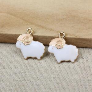 Cartoon White Enamel Sheep Charm Pendants For DIY Earring/Bracelet/Necklace Gift