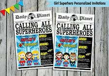 GIRL SUPERHERO PERSONALISED INVITATIONS CARDS BIRTHDAY INVITES newspaper style