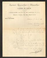 """AURILLAC (15) IMPRIMERIE """"L'AVENIR DU CANTAL Directeur Emile BANCHAREL"""" en 1906"""
