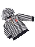 George Baby Boys Navy/White Stripe Skull Crossbones Hooded tops Ages 1st-12 mths