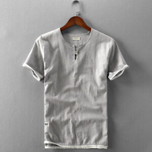 Cotton Linen T-Shirts For Men Short Sleeve Solid O Neck Casual Tops Men TS723