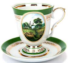 Large Mug w/Saucer White Porcelain Pastorale Landscape Made in Dulevo Russia