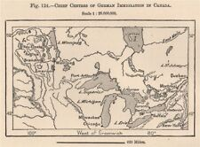 Chief centres of German immigration in Canada 1885 old antique map plan chart