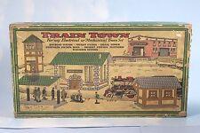 "Vintage Rare Prewar ""Train Town"" 5 Cardboard Buildings  with Set Box 30's Nice"