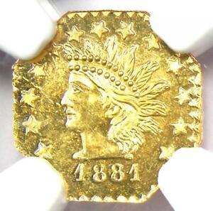 1881 Indian California Gold Half Dollar 50C BG-965 R6 - Certified NGC MS66 PL