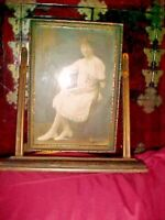 Antique 1930s Victorian Picture Frame Wood Tilt Swivel Swing YOUNG GIRL/DIPLOMA