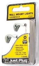 Woodland (O-Scale) 5662 Just Plug Wall Mount Gooseneck Lights (2 Pkg) NIB