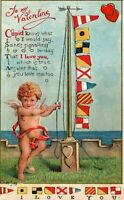 Rare Antique Nautical Flags with Cupid~ I Love You~ 1912 Valentine Postcard-b814