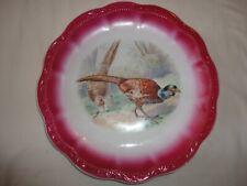 "Bavaria Game Bird Plate Antique 12"" Bright Pink Trim Nice Victorian Accessory"