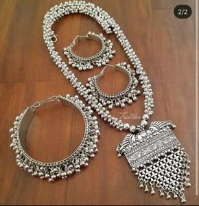 Indian Bollywood style German oxidized silver antique Necklace with Earring Set