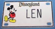 Vintage Disneyland Mickey Mouse Len Plastic Name License Plate