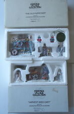 2 Boxes Dept 56 Figures 3 pc Harvest Seed Cart & 3 pc Old Puppeteer