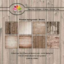 New Dixi Craft 15cm x 15cm Paper Pad Wooden Background Brown