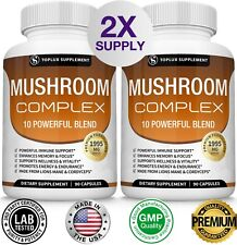 Mushroom Complex Supplement 180 Capsules +10 Mushrooms Lions Mane Reishi Pills