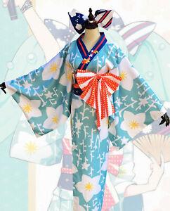 Vocaloid Hatsune Miku Summer Festival Yukata Japanese Traditional Kimono Costume