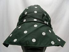 SHEDRAIN - GREEN POLKA DOT - LIGHTWEIGHT NYLON BUCKET HAT SUN CAP!