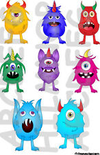 SET 8 ADESIVI FINESTRA MOSTRI WINDOWS STICKERS VETRI MONSTER CREATURES SPIRITOSI