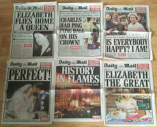 6 x Daily Mail Supplements - Queen's Reign in Historic Papers 50 60 70 80 90 00