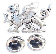 Welsh Dragon National Symbol Handcrafted in Solid Pewter In UK Lapel Pin Badge