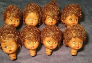 8 Vintage Vinyl Doll Head Lot Girl Dark Hair/Skin  Craft Lot New old stock Cute!