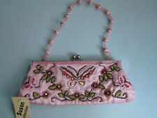Prom Evening Special Occasion Beaded Purse Handbag Clutch Fabric Pink Floral