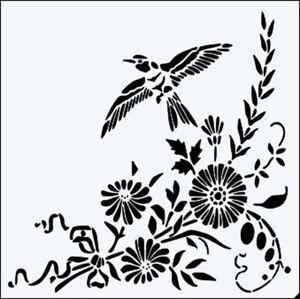 Uccello E Fiore Angolo Motivo 15.2cm,20.3cm,30.5cm Stampo - Robusto Nuovo